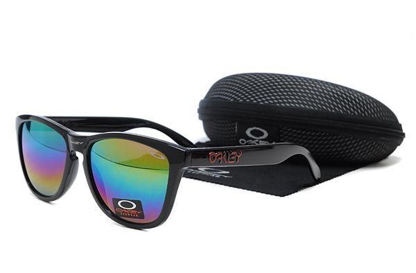 Oakley frogskin design black lush gloss frame with coloured mirror lenses.