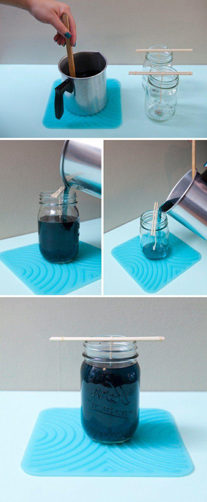verser la cire dans le moule, dernier étape du projet comment fabriquer de bougies