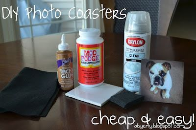 What You'll Need: 4x4 Tiles  Felt Fabric Glue Photos  Mod Podge Sponge Brush Acrylic Spray (Clear)   What To Do: 1. Mod Podge the actual tile.   2. Place the photo on the center of the tile IMMEDIATELY after the tile has been 'mod podged' so the photo adheres better.  Then, cover the photo with mod podge. May want several coats 3. Apply felt to the back of the tile with tacky glue.   4. 'waterproof' the coaster by spraying it with clear, acrylic, water resistant spray. May want several coats