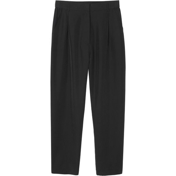 Monki Linn trousers ($18) ❤ liked on Polyvore featuring pants, bottoms, trousers, clothes - pants, black magic, monki, dressy pants and fancy pants