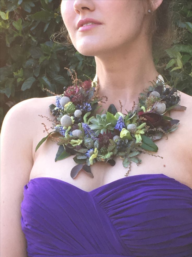 Passion Flowers Design; www.passionflowersdesign.com; Wearable floral necklace with Muscari, Brunia, Pieris, Kangaroo Paws, Ranunculus, at Rincon Beach Club