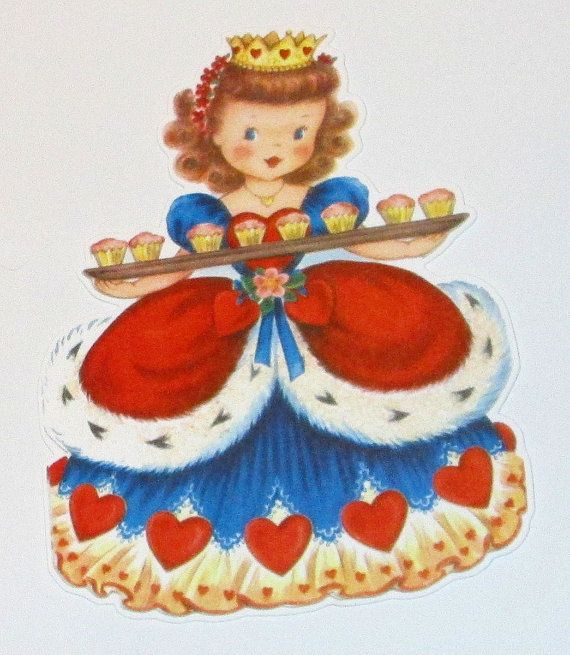 New American made childs children's retro greeting card die cut scrap Queen of hearts girl Valentine's day scrap booking party decorations