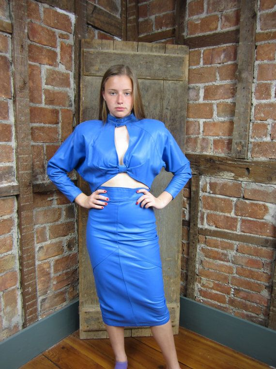 Vintage 1980s LEATHER Top & Skirt Electric BLUE by MISSIONMOD