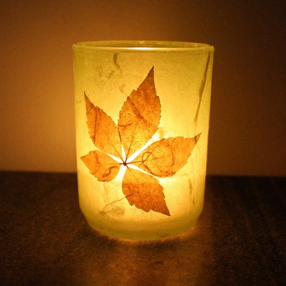 cozy warm home decor glass candleholder luminary wrapped with handmade paper.