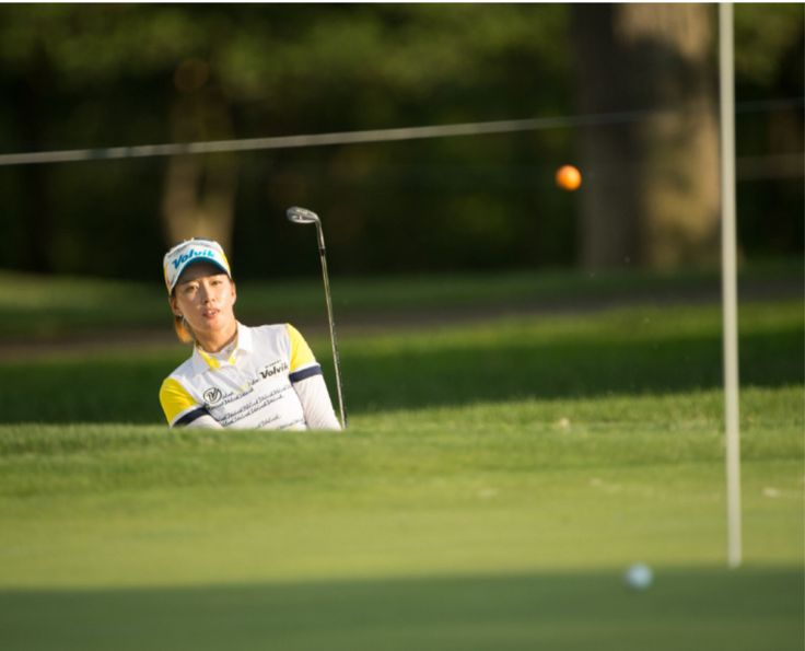 Chella Choi of the Republic of Korea watches her shot on the eighth hole during Round Two for the 2017 KPMG Womens PGA Championship held at Olympia Fields Country Club on June 30 2017 in Olympia Fields Illinois. (Photo by Montana Pritchard/PGA of America)