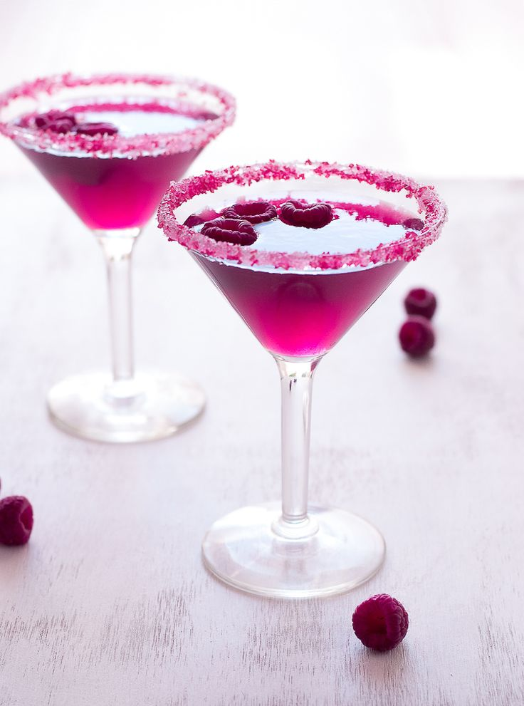 Weekend cocktails! Very pink raspberry cosmopolitans.