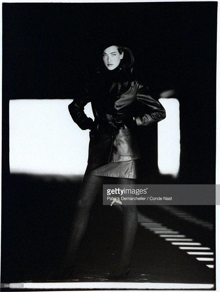 News Photo : Model, Tatjana Patitz, wearing a black leather...