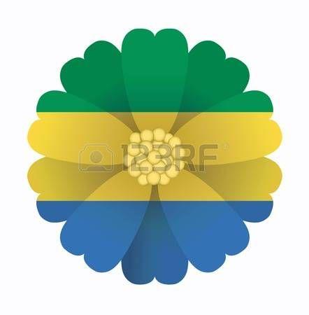 illustration of flower Flag Gabon photo