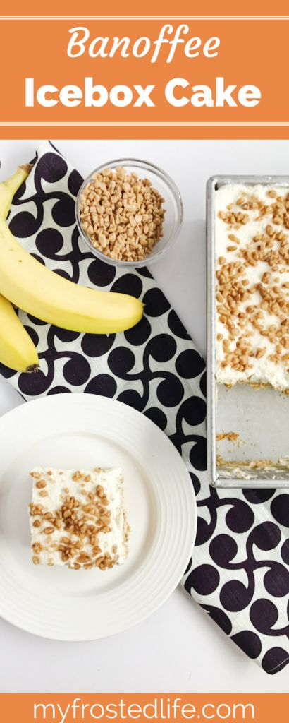 Interested in trying a new recipe for an icebox cake? This Banoffee Icebox Cake is a twist on the traditional British dessert of Banoffee Pie. This easy, no bake summer dessert is made from scratch with layers of graham crackers, simple toffee, sliced bananas, and topped with classic whipped cream. This original dessert is perfect for a birthday party or summer barbecue and is one that kids will love. Click through and I will show you how to make this easy summer treat!