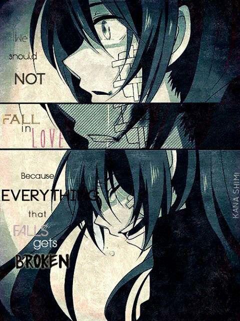    No deberíamos caer en el amor (enamorarnos). Porque todo lo que cae se rompe.   Traducción ES: @sukigamer88   