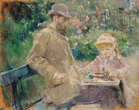 Berthe Morisot, Eugène Manet et sa fille dans le jardin de Bougival 1881