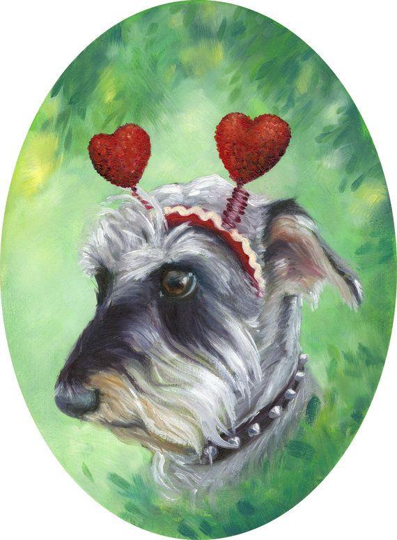 Heart Wearing Schnauzer Pup Kids Room Woodland Art Print. Fabulous Nursery Art Decor