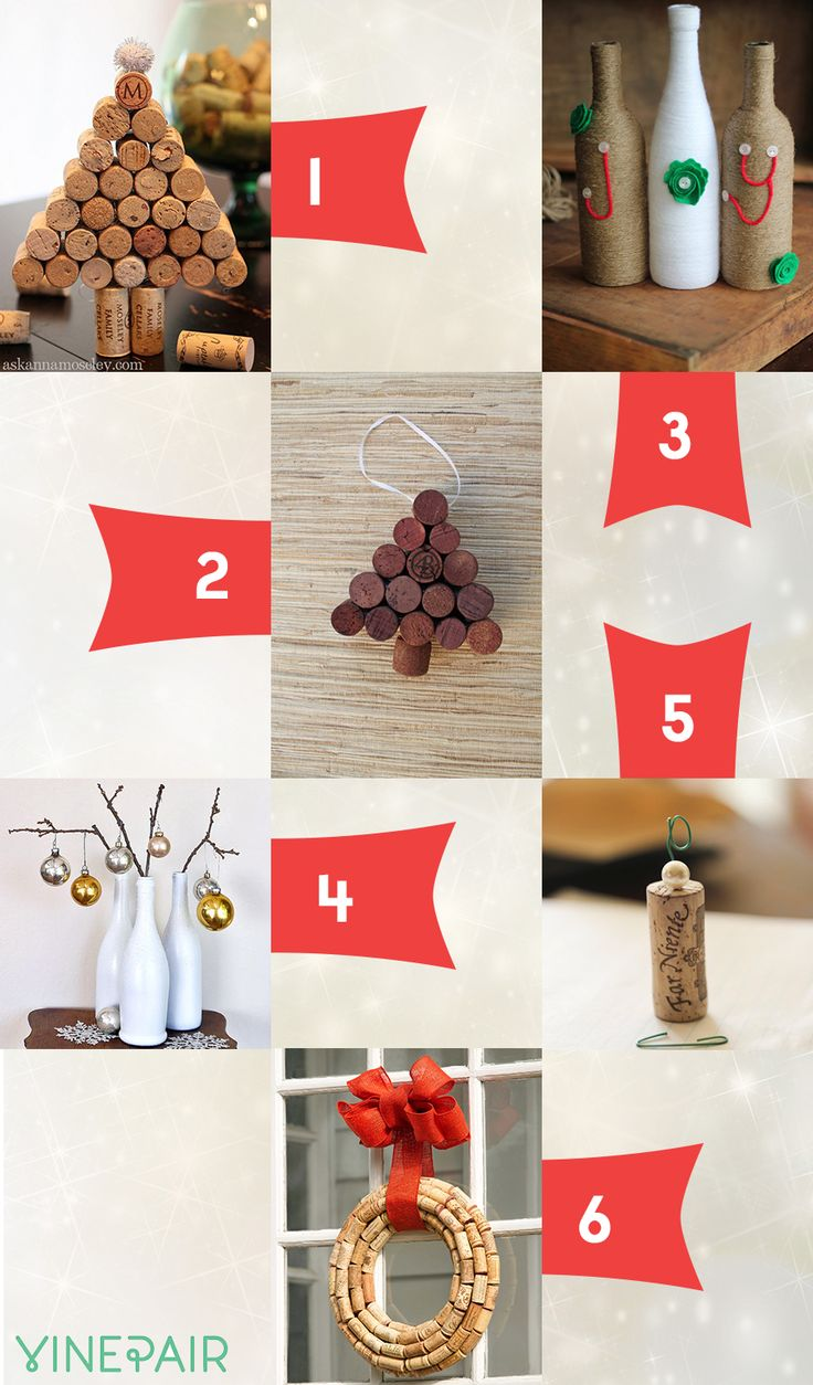 Cork christmas decorations - 6 Wine Crafts For Christmas