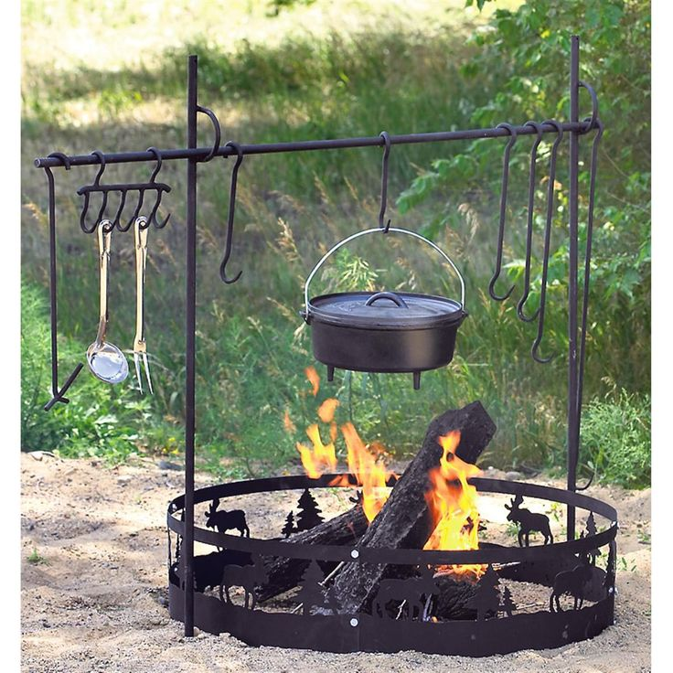 Camp fire cooking and Fire pit cooking grill