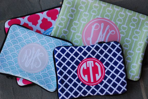 Macbook PRO 13 Sleeve Monogrammed or Personalized on the Libby and Winston Etsy shop! Love their stuff!