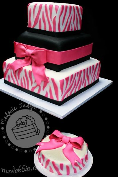 A cute pink and black cake