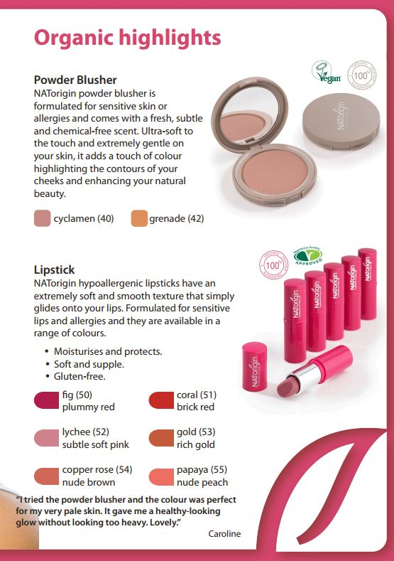Organic highlights with the face and lip makeup range.