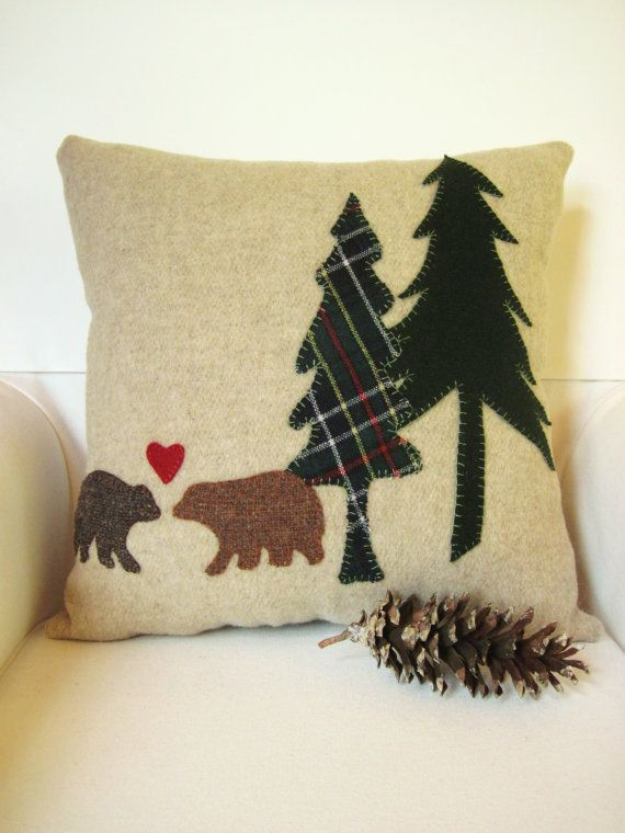 Decorative Pillow / Wool Applique Pillow / Wool by AwayUpNorth, $49.00