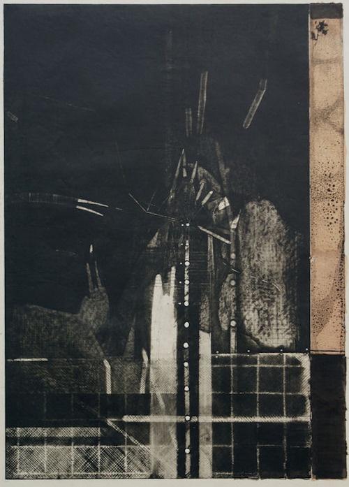 Takahiko Hayashi ~ Back bone of the wind 5, 1987 (etching, chine collé)