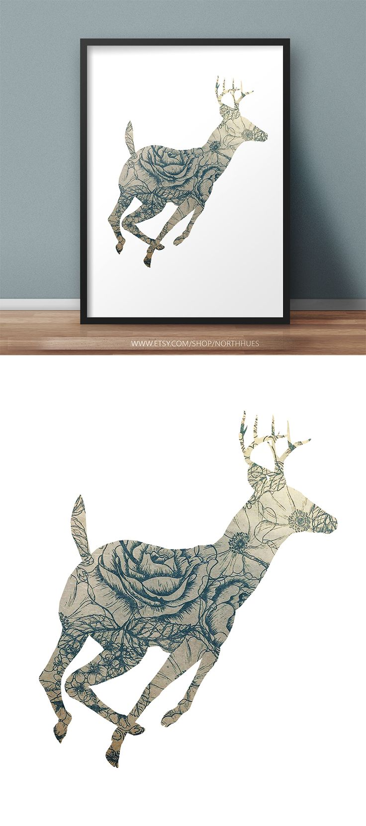 Deer Poster Design.  https://www.etsy.com/no-en/listing/536343373/vintage-look-floral-deer-poster-instant?ref=shop_home_active_1