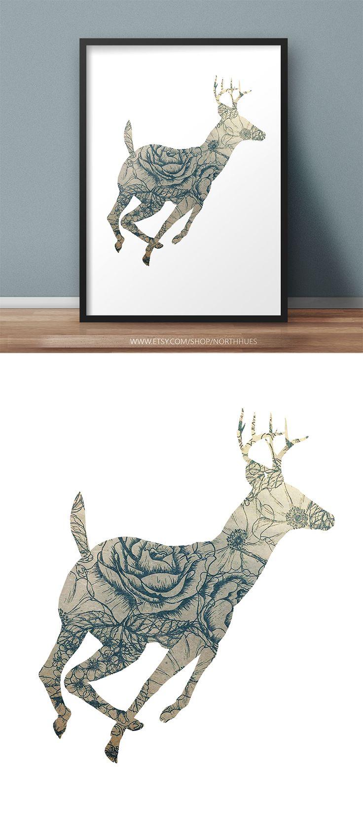 Deer Poster Design.  https://www.etsy.com/no-en/listing/536343373/vintage-look-floral-deer-poster-instant?ref=shop_home_active_1