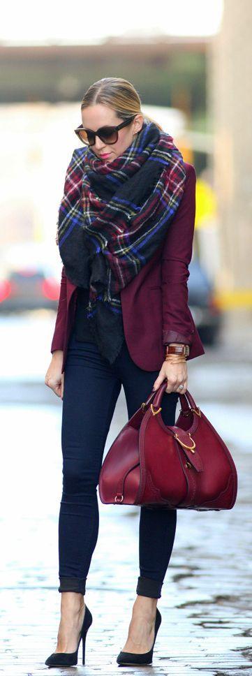 Fall Berry Tones / Wine : Scarf, Blazer, Skinny Denim Jeans, Purses [I Dream This Outfit]