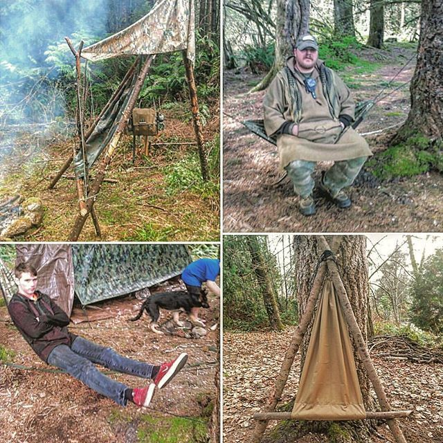 Different Examples Of The Hammock Chair Camp Furniture Tripod Three Poles With A Seating Bar Bipod Two Camping Chairs Bushcraft Camping Wilderness Camping