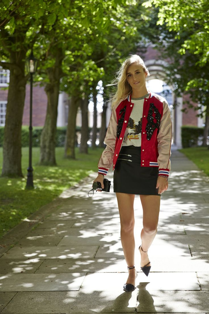 With personal shopper Sophie, sportswear goes high fashion with a luxe embellished bomber.