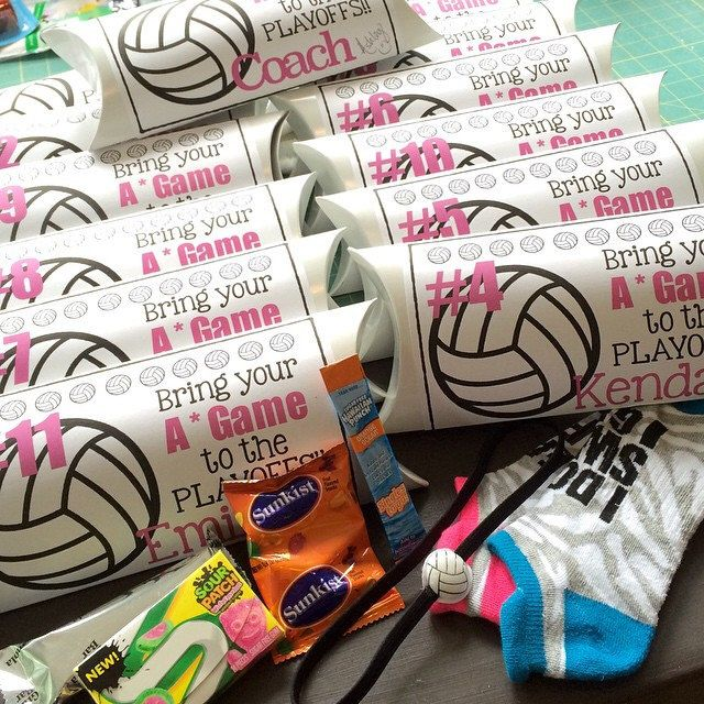 Volleyball Playoffs Team Gift!!!  Team name: A Game what's in it: cute socks, fruit chews, gum, granola bar, orange crush single serve mixer and hair band that I glued a little volleyball on #volleyball #volleyballgifts