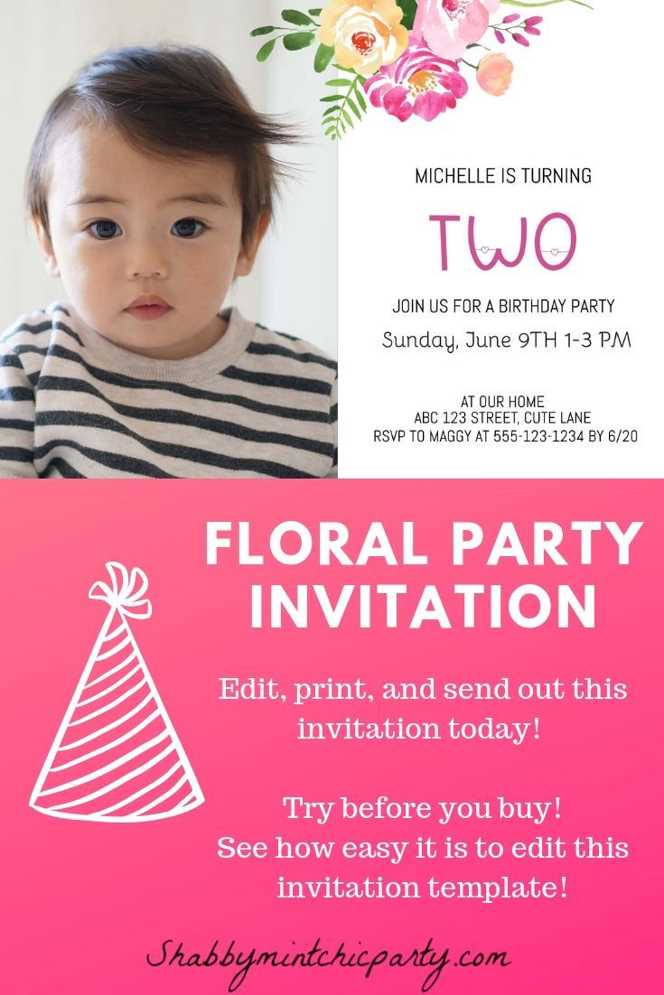 Editable Floral Photo Invitation Template Baby Birthday Etsy Party Invite Template Baby Birthday Invitations Photo Invitations