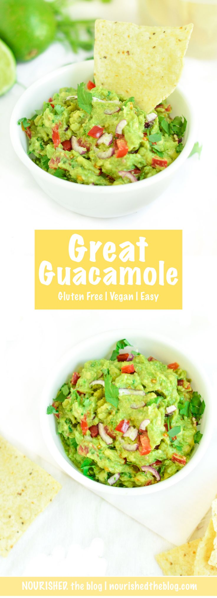 A Great Guacamole recipe! This is a quick and delicious dip made complete vegan and gluten free with avocados, tomatoes, red onion, garlic, cilantro, lime and spicy jalapeño peppers. Everyone will go crazy for this great guac!