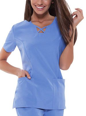 "View Product PhotA stylized V-neck top features criss-cross binding at center front neck. Front princess seams are covered with strapping. Additionally featured are two patch pockets with an added inside instrument loop at right pocket. Double needle topstitching, back darts, and side vents complete this innovative top. Center back length: 26""o"