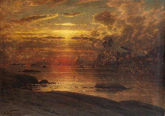 Adelsteen  Normann,(1848-1918) Fiskevær i Lofoten