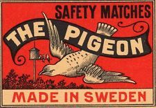 ORIGINAL VINTAGE MATCHBOX LABEL - THE PIGEON SAFETY MATCHES - MADE IN SWEDEN