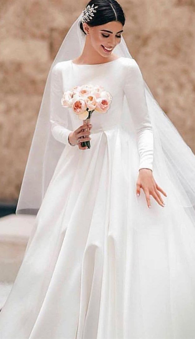 Country White Wedding Dresses Dream Bridal Gowns Modest Long Sleeves Church We Online Wedding Dress High Neck Wedding Dress Simple Wedding Dress With Sleeves