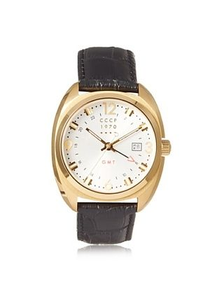74% OFF CCCP Men's 7016-02 Aviator Black/Gold Stainless Steel Watch