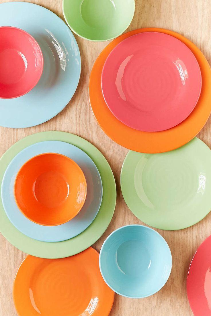 12-Piece Bright Solids Melamine Dinnerware Set - Urban Outfitters