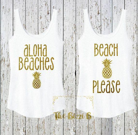 Aloha Beaches OR Beach Please Sparkly Glitter Gold Tank