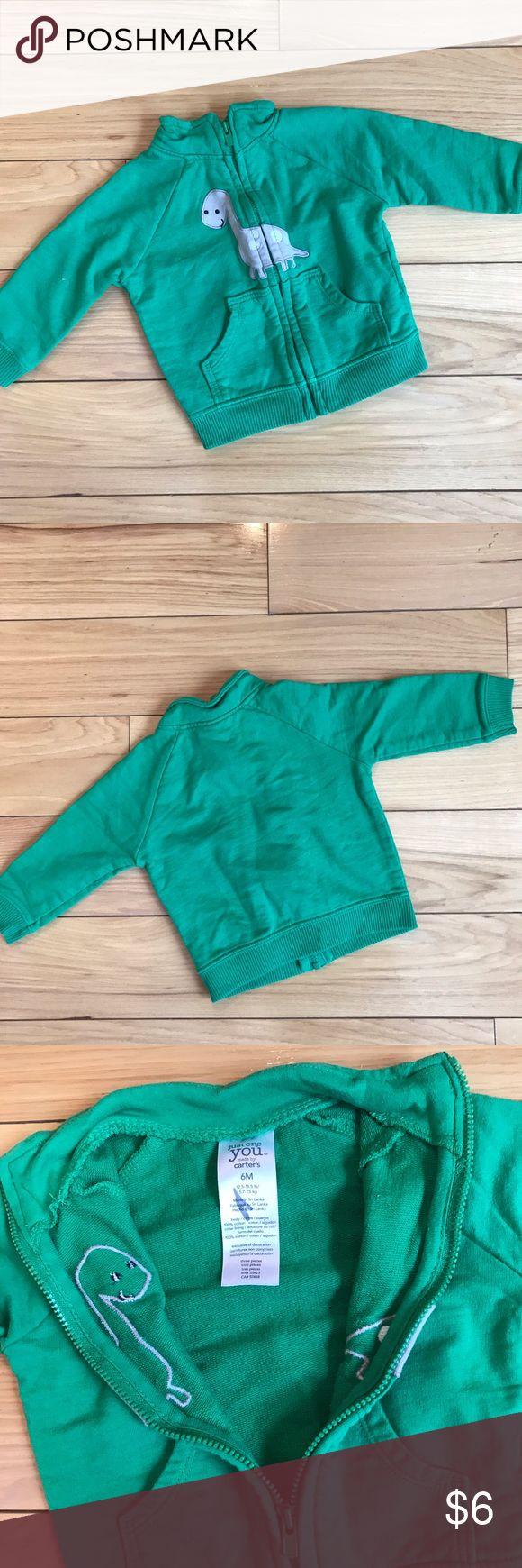Carters Dinosaur Green Zip-up Sweatshirt Carters Green Dinosaur Zip up Sweatshirt. Excellent used condition. Size 6 months Carter's Shirts & Tops Sweatshirts & Hoodies