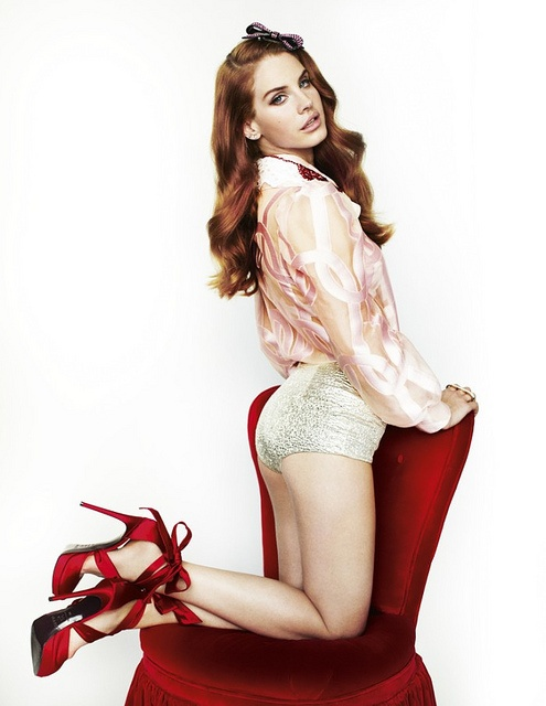 So in love with these shoes! Lana Del Rey in Viktor & Rolf Shirt, Giambattista Valli Shorts & Talbot Runhof for Rodo Shoes  - Photographed by Mario Testino for UK Vogue March 2012 by Winter Phoenix, via Flickr