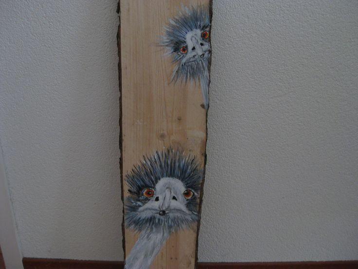 Struisvogels op houtenpaneel acrylverf