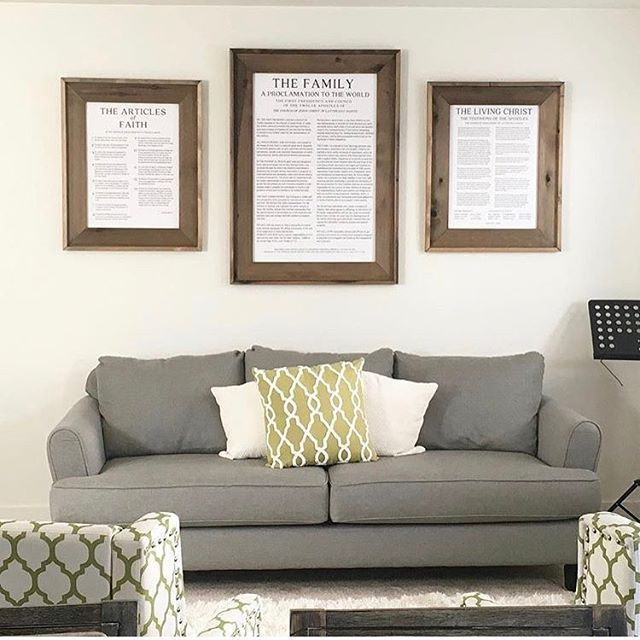 "@lucy.simmons2611 shared: ""We recently purchased and hung The Articles of Faith, The Proclamation to the Family, and The Living Christ, in our living room. I can honestly say, that having them in our home, large in size, has made an extreme difference in inviting the Spirit into our home. It made me happy when Elder Ballard, advised us to keep a copy where we can see them, to keep our goals aligned with the gospel."" #ldsconf    #Regram via @whimzicalwoods"