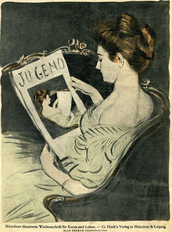 """poboh: """"Jugend обложка журнала, (женщина чтение Jugend), 1896 г., Неизвестный художник.  """""""