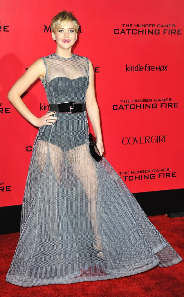 Jennifer Lawrence goes sexy and sheer in a Dior Haute Couture gown at the 2014 L.A. premiere of Catching Fire. #fashion
