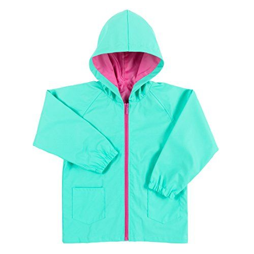 Solid Color Kids' Rain Jacket Can be Personalized or Monogrammed (Medium (7-8), Mint)
