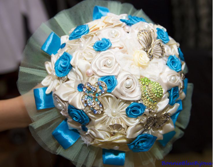 Blue and white satin flowers and tulle wedding bouquet! Shipping worldwide!