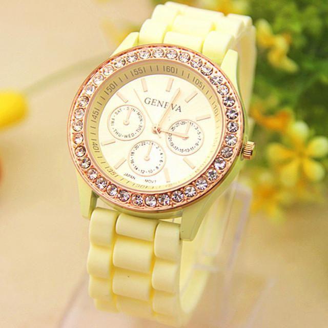 2017 New Hot Geneva Watch Women Quartz WristWatch Crystal Silicone Watches for women an Relojes Mujer