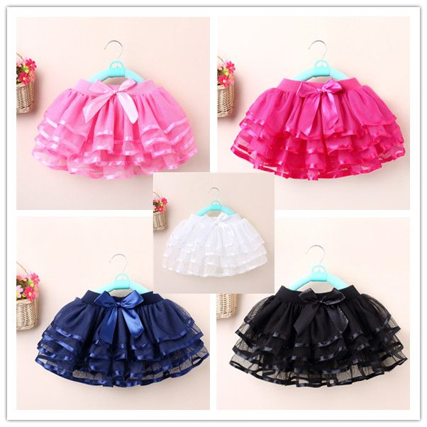 Détail 5 couleurs filles tutu jupe arc gâteau jupes pour filles enfants puffy pettiskirt filles tulle jupe GD0068