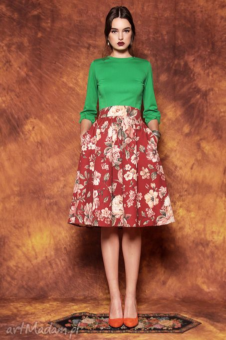 Bordowa spódnica kwiaty spódnice kasia miciak design kwiecista