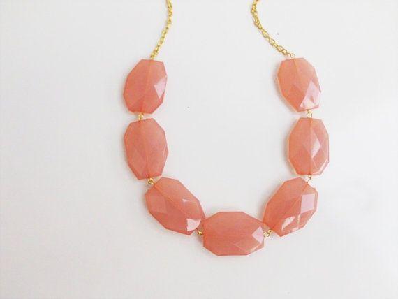 Peach Necklace Coral Necklace Chunky Necklace by HOBIHOLIK